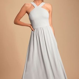 Lulu's Air of Romance Grey Bridesmaid Dress